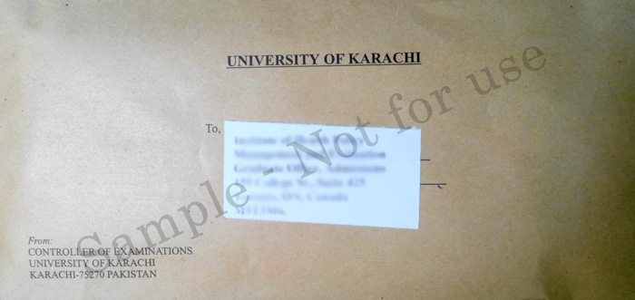 Verification of Degree and Transcripts from Karachi University