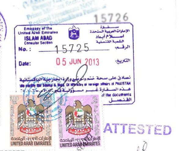 Attestation from UAE Embassy in Pakistan
