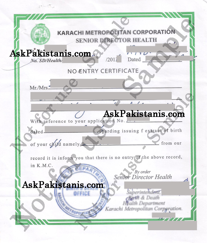 Procedure to get non availability of birth certificate non availability of birth certificate karachi yadclub Image collections